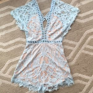 Other - Baby Blue Lace Crochet Romper